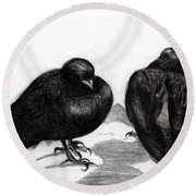 Serious Pigeon Situation Round Beach Towel