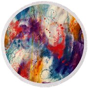 Round Beach Towel featuring the painting Set Me Free by Tracy Bonin