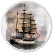Ocean Round Beach Towel featuring the painting Set Sail by Aaron Berg