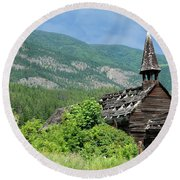 Round Beach Towel featuring the photograph Seton Portage Church 2 by Rod Wiens