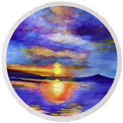 Round Beach Towel featuring the painting Setting by Allison Ashton