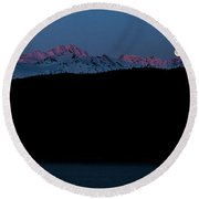 Setting Moon Over Alaskan Peaks II Round Beach Towel
