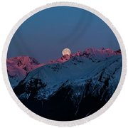 Setting Moon Over Alaskan Peaks Iv Round Beach Towel