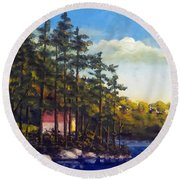 Round Beach Towel featuring the painting Setting On The Pines by Jim Phillips