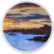 Setting Sun At Canal Rocks Round Beach Towel