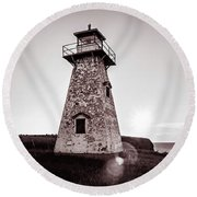 Round Beach Towel featuring the photograph Setting Sun At Cape Tryon Lighthouse by Chris Bordeleau