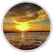 Setting Sun Round Beach Towel by Doug Long
