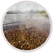 Round Beach Towel featuring the photograph Setting Sun On Lake Mcdonald by Margaret Pitcher