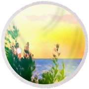 Pastel Colors On The Atlantic Ocean In Cancun Round Beach Towel