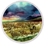 Settlers On A Land Race Into Indian Territory Round Beach Towel