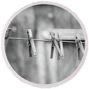 Seven Clothes Pins Round Beach Towel by Marius Sipa