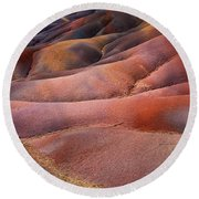 Seven Colored Earth In Chamarel 8. Series Earth Bodyscapes. Mauritius Round Beach Towel