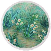 Round Beach Towel featuring the painting Seven Daffodils by Xueling Zou