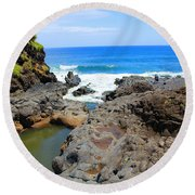 Round Beach Towel featuring the photograph Seven Sacred Pools Of Maui by Michael Rucker