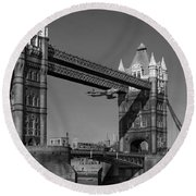 Round Beach Towel featuring the photograph Seven Seconds - The Tower Bridge Hawker Hunter Incident Bw Versio by Gary Eason