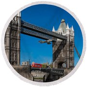 Round Beach Towel featuring the photograph Seven Seconds - The Tower Bridge Hawker Hunter Incident  by Gary Eason