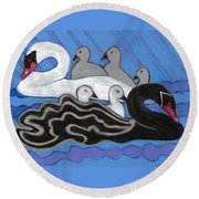 Round Beach Towel featuring the painting Seven Swans Swimming by Denise Weaver Ross