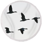 Sevenfold Geese Round Beach Towel