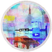 Seventh Street Round Beach Towel by Susan Stone