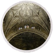 Round Beach Towel featuring the photograph Seville Cathedral - Looking Up by Madeline Ellis