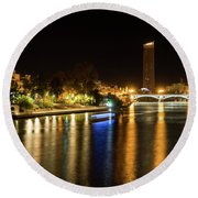 Seville Night Magic - Triana Bridge And The One And Only Skyscraper Round Beach Towel