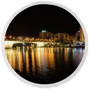 Seville Night Magic - Triana Multicolored Reflections Shimmering In Guadalquivir River Round Beach Towel