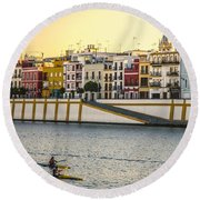 Seville - Sunset In Calle Betis Round Beach Towel