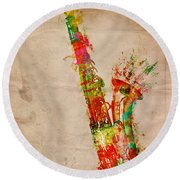 Sexy Saxaphone Round Beach Towel by Nikki Smith