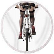 Sexy Woman Riding A Bike Round Beach Towel