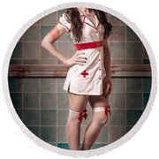 Sexy Zombie Medical Emergency Nurse In Hospital Er Round Beach Towel
