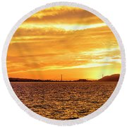 Sf Bay Area Sunset Round Beach Towel