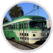 Sf Muni Railway Trolley Number 1006 Round Beach Towel