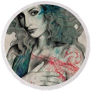 Sgnl-05 - Seminude Street Art Portrait, Topless Lady With Swan Tattoo Round Beach Towel