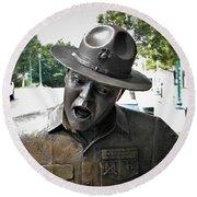Sgt. Carter Statue In Clarksville, Tn Round Beach Towel