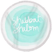 Shabbat Shalom Sky Blue Drop- Art By Linda Woods Round Beach Towel