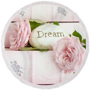 Shabby Chic Cottage Pink Roses On Pink Books - Romantic Inspirational Dream Roses  Round Beach Towel