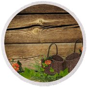Shabby Chic Flowers In Rustic Basket Round Beach Towel