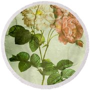Shabby Chic Pink And White Peonies Round Beach Towel