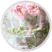 Shabby Chic Pink Peonies Impressionistic Romantic Dreamy Cottage Peonies On Pink Books Round Beach Towel