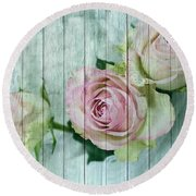 Shabby Chic Pink Roses On Blue Wood Round Beach Towel