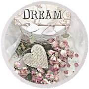 Round Beach Towel featuring the photograph Shabby Chic Romantic Dream Valentine Roses - Romantic Dreamy Roses Valentine Hearts by Kathy Fornal