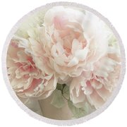 Round Beach Towel featuring the photograph Shabby Chic Romantic Pastel Pink Peonies Floral Art - Pastel Peonies Home Decor by Kathy Fornal