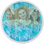 Shabby Chic Vintage Little Girls And Roses On Wood Round Beach Towel