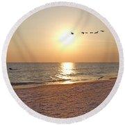 Shackleford Banks Sunset Round Beach Towel by Betsy Knapp