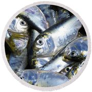 Round Beach Towel featuring the painting Shad  by Phyllis Beiser