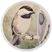 Shades Of Black Capped Chickadee Round Beach Towel