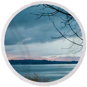 Shades Of Blue As Night Falls Round Beach Towel