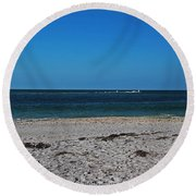 Round Beach Towel featuring the photograph Shades Of Blue by Michiale Schneider