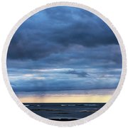 Round Beach Towel featuring the photograph Shades Of Blue.. by Nina Stavlund