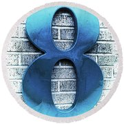 Shades  Of Blue Number Eight Square Round Beach Towel